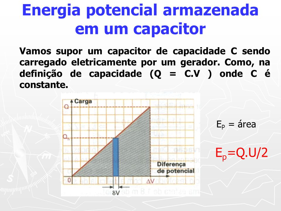 Energia potencial armazenada em um capacitor E P = área E p =Q.U/2 Vamos supor um capacitor de capacidade C sendo carregado eletricamente por um gerador.