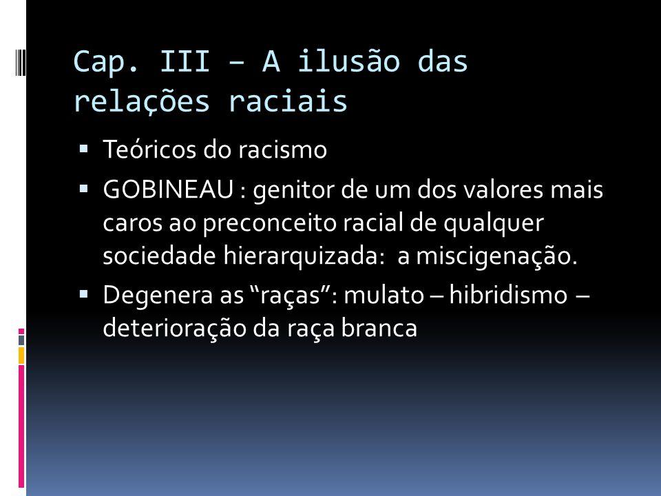 Cap. III – A ilusão das relações raciais  Teóricos do racismo  GOBINEAU : genitor de um dos valores mais caros ao preconceito racial de qualquer soc