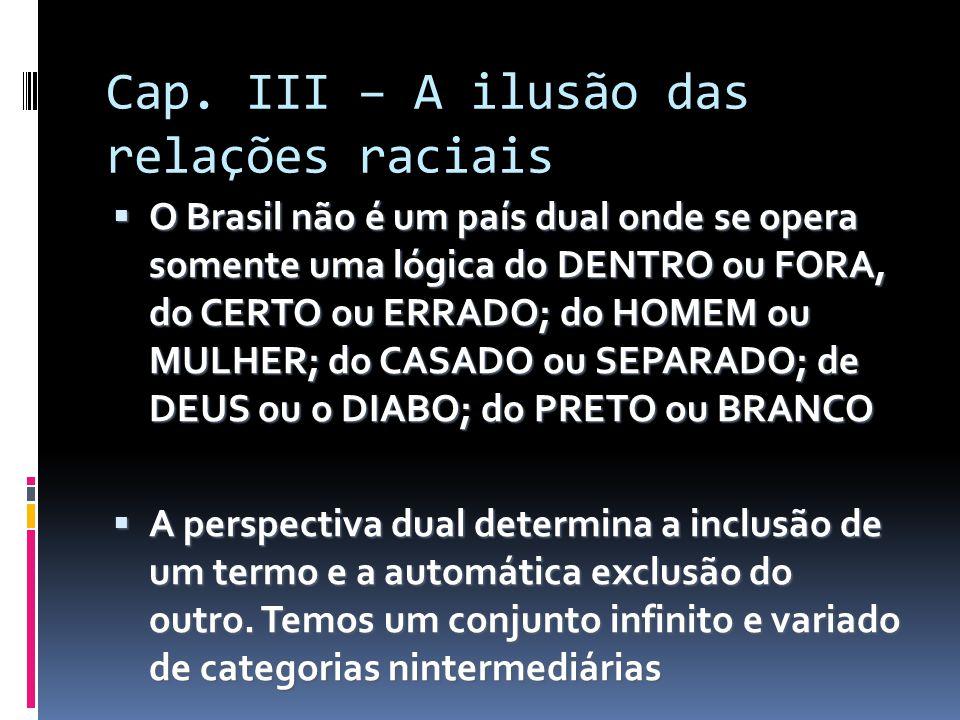 Cap. III – A ilusão das relações raciais  O Brasil não é um país dual onde se opera somente uma lógica do DENTRO ou FORA, do CERTO ou ERRADO; do HOME