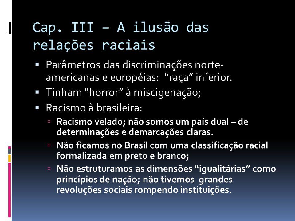 """Cap. III – A ilusão das relações raciais  Parâmetros das discriminações norte- americanas e européias: """"raça"""" inferior.  Tinham """"horror"""" à miscigena"""