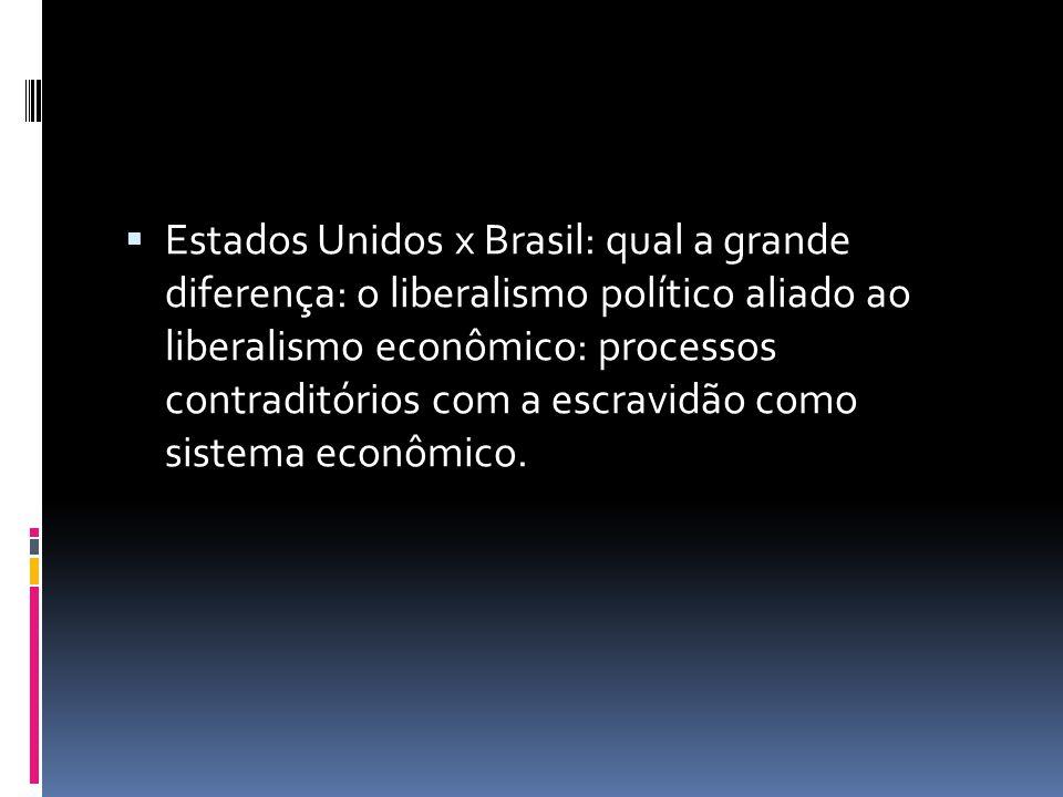  Estados Unidos x Brasil: qual a grande diferença: o liberalismo político aliado ao liberalismo econômico: processos contraditórios com a escravidão como sistema econômico.