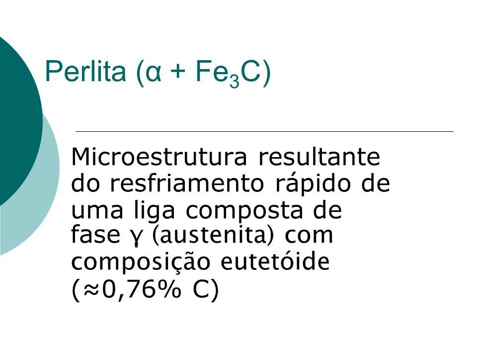Perlita ( α + Fe 3 C) Microestrutura resultante do resfriamento rápido de uma liga composta de fase γ (austenita) com composição eutetóide (≈0,76% C)