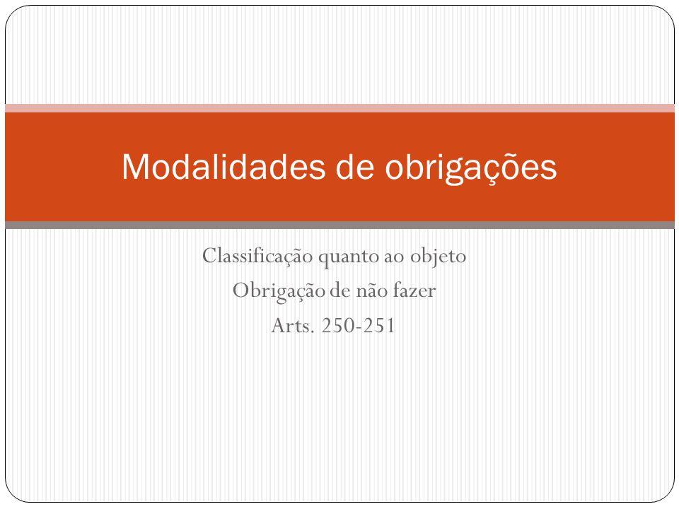 Classificação quanto ao objeto Obrigação de não fazer Arts. 250-251 Modalidades de obrigações