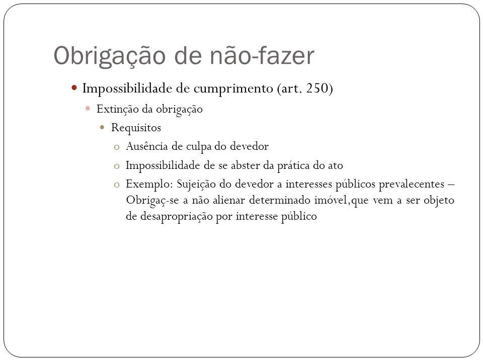 Obrigação de não-fazer Impossibilidade de cumprimento (art.