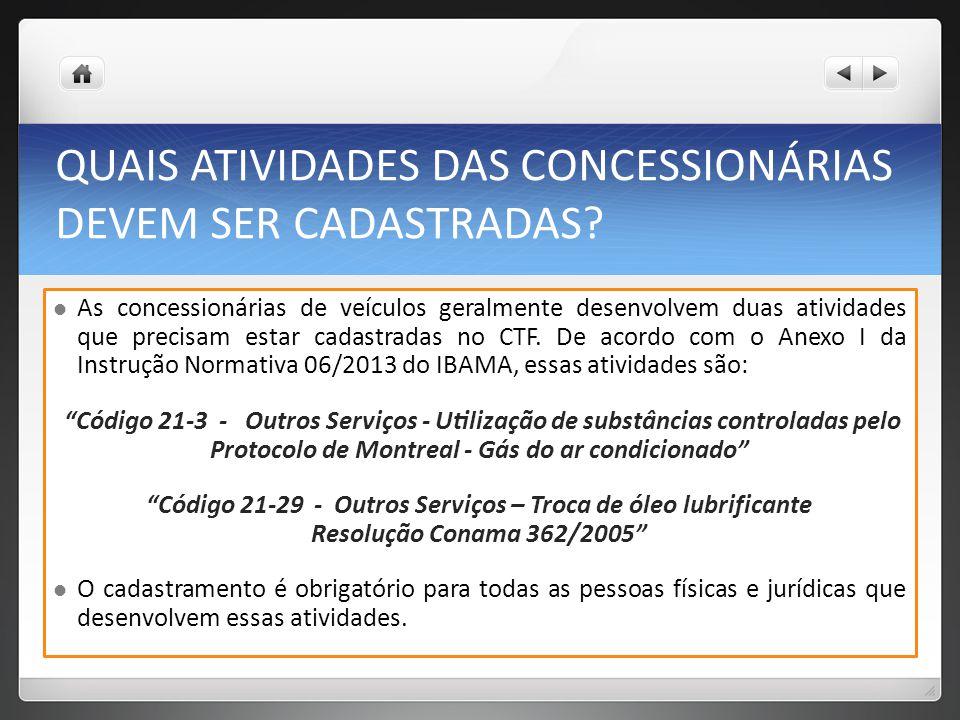 QUAIS ATIVIDADES DAS CONCESSIONÁRIAS DEVEM SER CADASTRADAS.