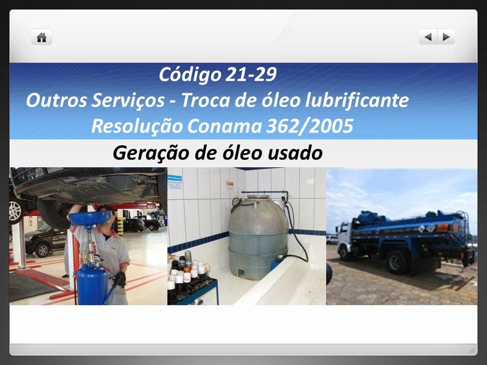 Código 21-29 Outros Serviços - Troca de óleo lubrificante Resolução Conama 362/2005 Geração de óleo usado