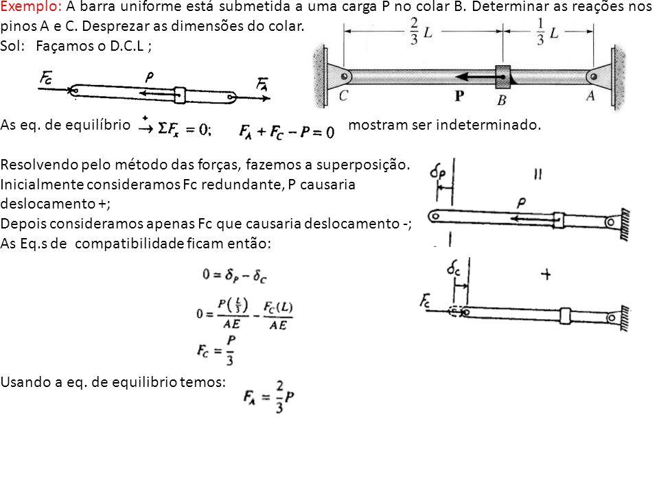 Exemplo: A barra uniforme está submetida a uma carga P no colar B. Determinar as reações nos pinos A e C. Desprezar as dimensões do colar. Sol: Façamo