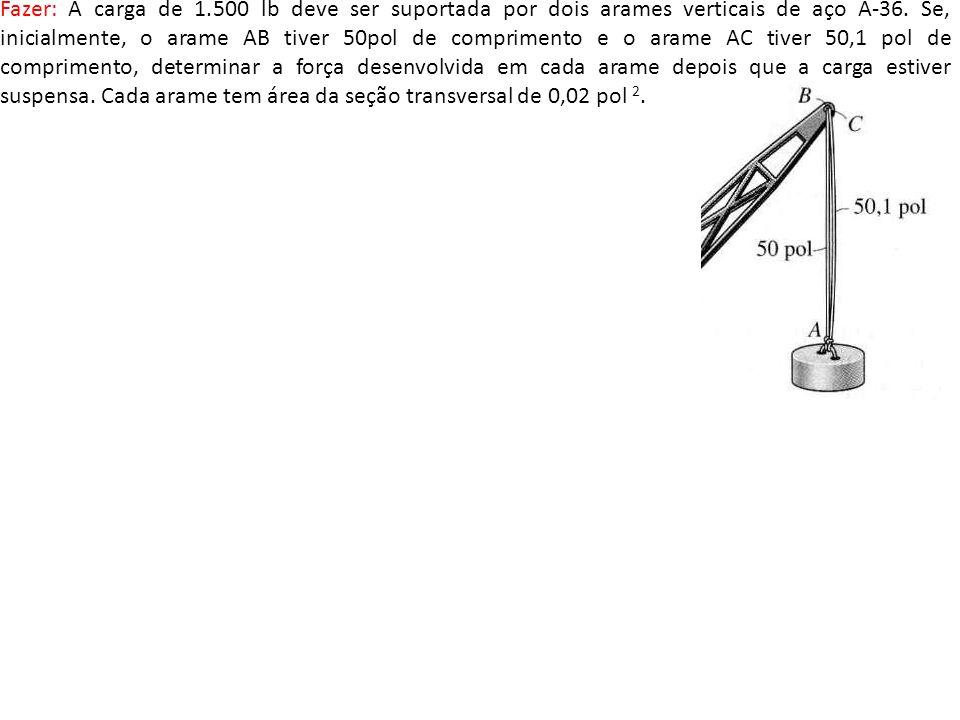 Fazer: A carga de 1.500 lb deve ser suportada por dois arames verticais de aço A-36. Se, inicialmente, o arame AB tiver 50pol de comprimento e o arame
