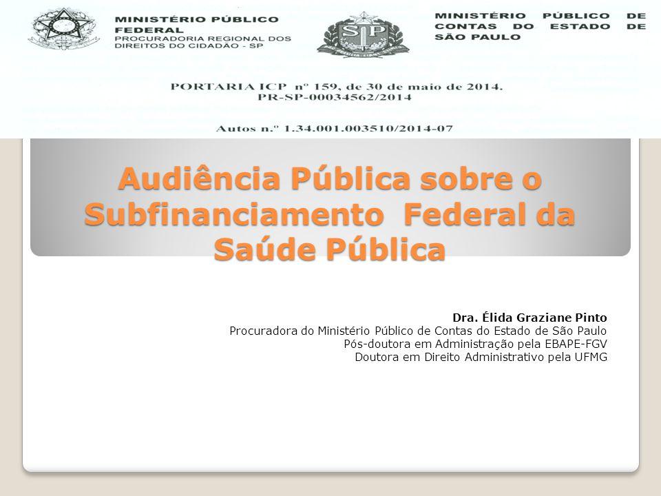 Audiência Pública sobre o Subfinanciamento Federal da Saúde Pública Dra. Élida Graziane Pinto Procuradora do Ministério Público de Contas do Estado de