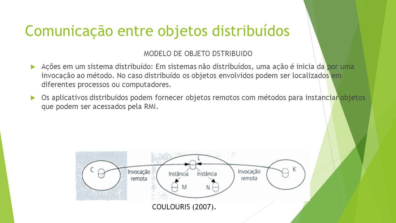 Comunicação entre objetos distribuídos MODELO DE OBJETO DSTRIBUIDO  Ações em um sistema distribuído: Em sistemas não distribuídos, uma ação é inicia