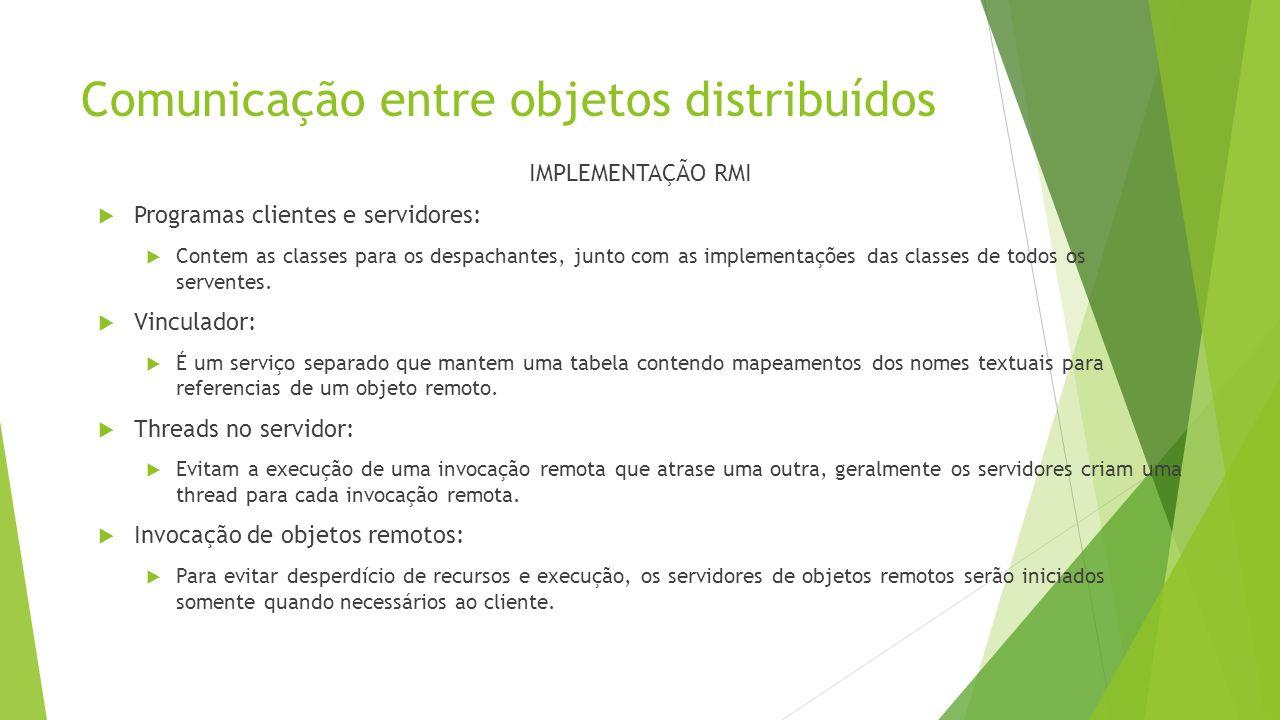 Comunicação entre objetos distribuídos IMPLEMENTAÇÃO RMI  Programas clientes e servidores:  Contem as classes para os despachantes, junto com as imp