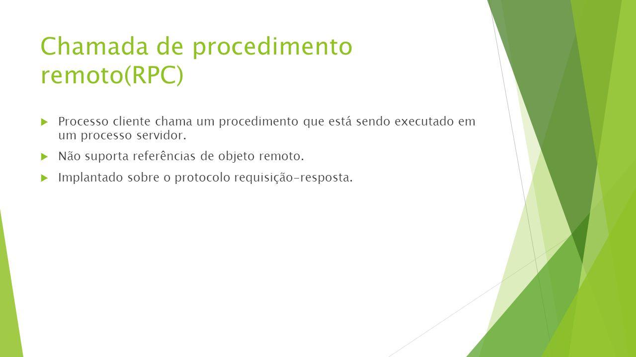 Chamada de procedimento remoto(RPC)  Processo cliente chama um procedimento que está sendo executado em um processo servidor.  Não suporta referênci