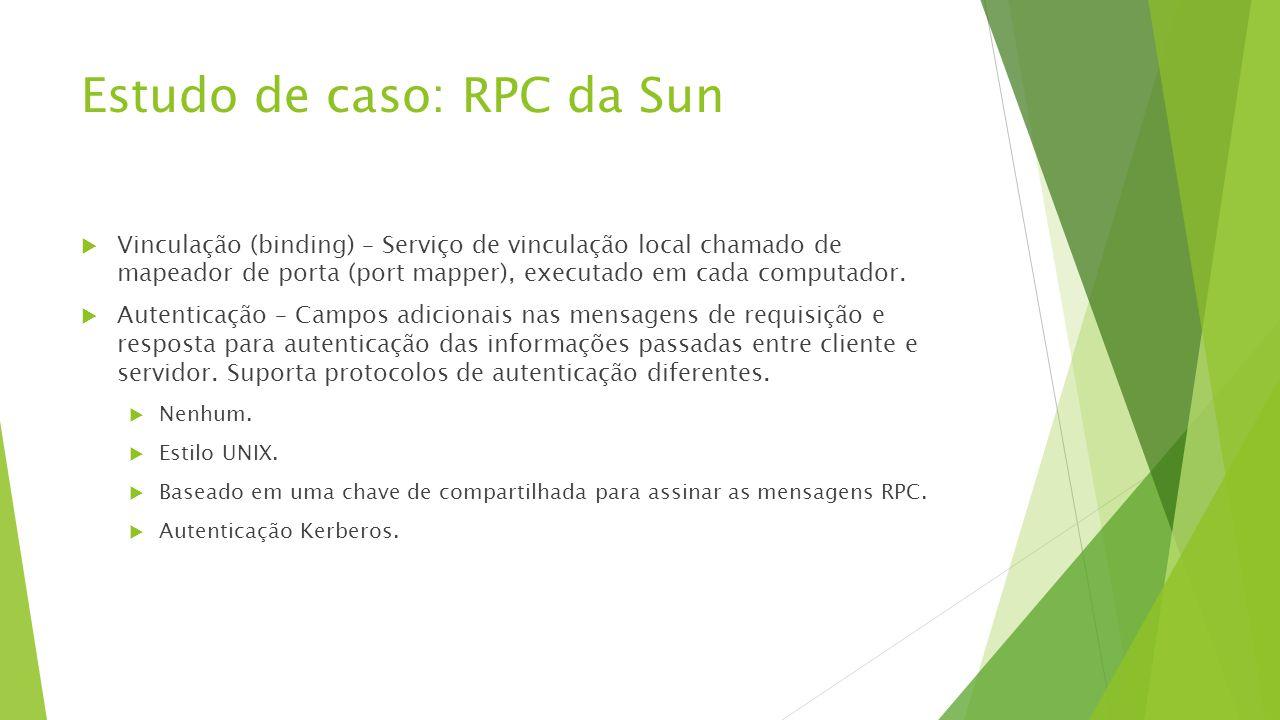 Estudo de caso: RPC da Sun  Vinculação (binding) – Serviço de vinculação local chamado de mapeador de porta (port mapper), executado em cada computad