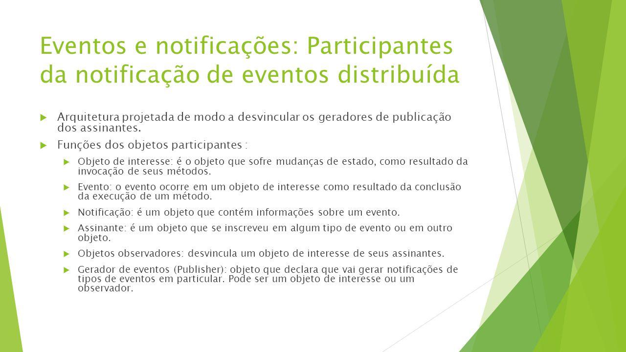 Eventos e notificações: Participantes da notificação de eventos distribuída  Arquitetura projetada de modo a desvincular os geradores de publicação d