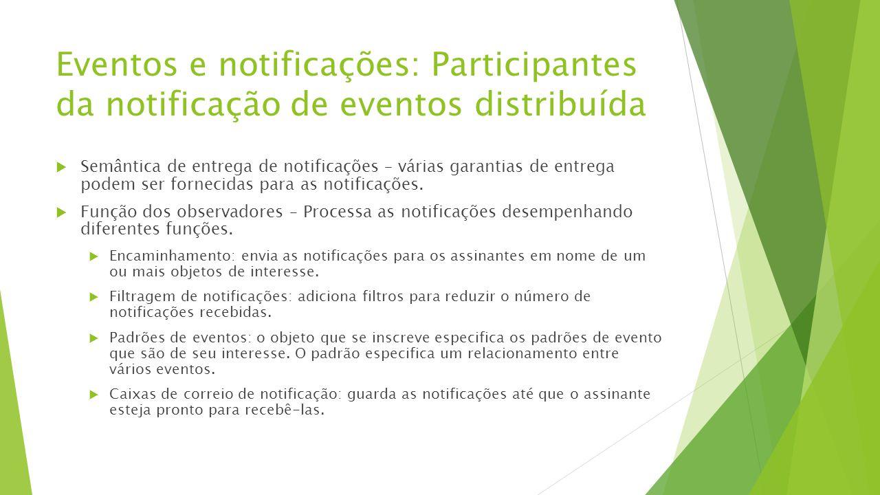 Eventos e notificações: Participantes da notificação de eventos distribuída  Semântica de entrega de notificações – várias garantias de entrega podem