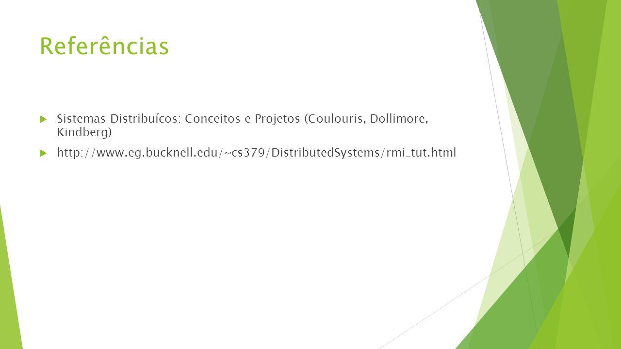 Referências  Sistemas Distribuícos: Conceitos e Projetos (Coulouris, Dollimore, Kindberg)  http://www.eg.bucknell.edu/~cs379/DistributedSystems/rmi_