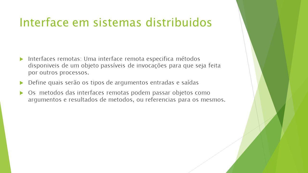 Interface em sistemas distribuidos  Interfaces remotas: Uma interface remota especifica métodos disponiveis de um objeto passíveis de invocações para