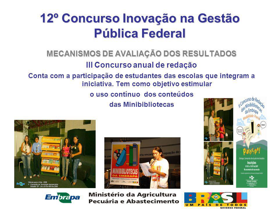 12º Concurso Inovação na Gestão Pública Federal MECANISMOS DE AVALIAÇÃO DOS RESULTADOS III Concurso anual de redação Conta com a participação de estudantes das escolas que integram a iniciativa.