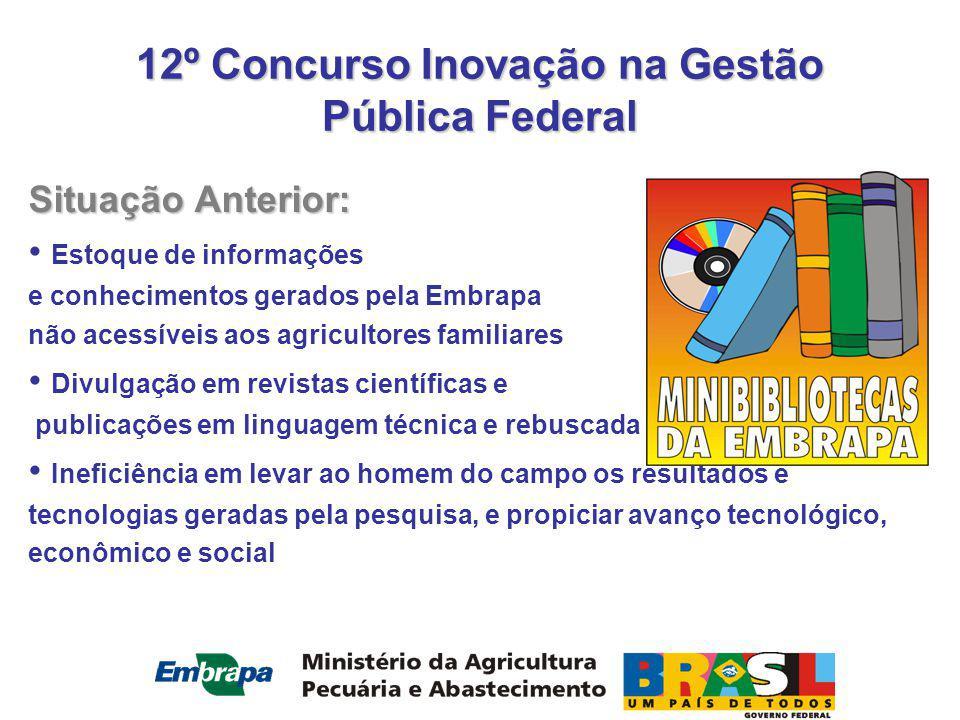 12º Concurso Inovação na Gestão Pública Federal OBRIGADO !!! CONHEÇA O SITE www.embrapa.br/minibib