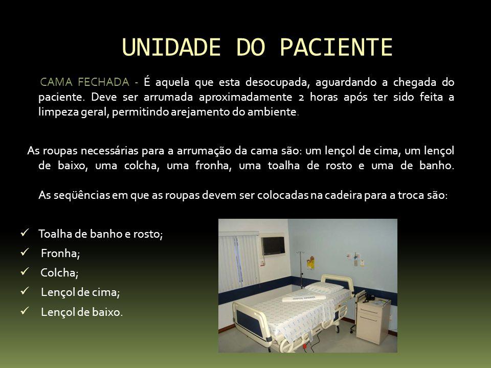 UNIDADE DO PACIENTE CAMA ABERTA- Cama aberta é a cama que está sendo ocupada por um cliente que pode deambular após a sua internação.