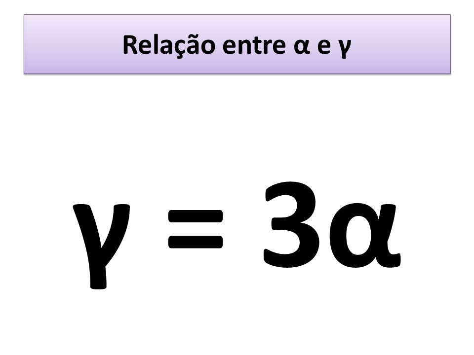 Relação entre α e γ γ = 3α