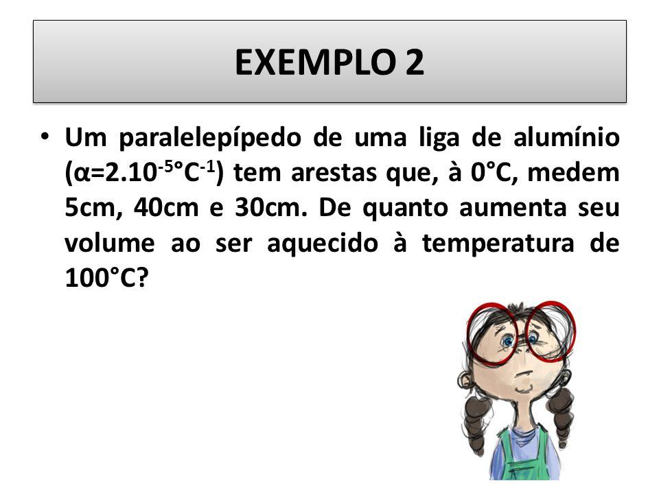 EXEMPLO 2 Um paralelepípedo de uma liga de alumínio (α=2.10 -5 °C -1 ) tem arestas que, à 0°C, medem 5cm, 40cm e 30cm.