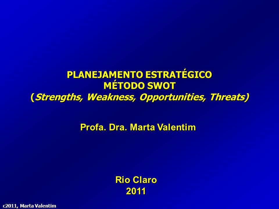 c2011, Marta Valentim Escolha da(s) Estratégia(s) de Ação Implantação do(s) Plano(s) Responsa- bilidade social Valores Organiza- cionais Formulação do(s) Plano(s) Avaliação externa Ameaças e oportunidades do ambiente Fatores críticos de sucesso Avaliação interna Forças e fraquezas da organização Competências Fonte Adaptada: Chiavenato; Sapiro – 2003 Método SWOT Strengths, Weakness, Opportunities, Threats