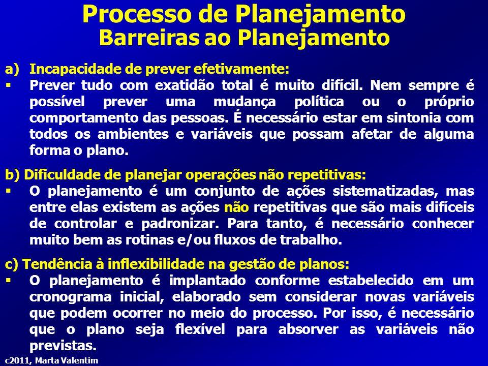 c2011, Marta Valentim Processo de Planejamento Barreiras ao Planejamento a)Incapacidade de prever efetivamente:  Prever tudo com exatidão total é mui