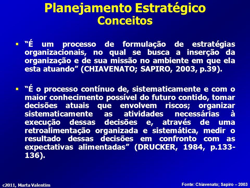 """c2011, Marta Valentim  """"É um processo de formulação de estratégias organizacionais, no qual se busca a inserção da organização e de sua missão no amb"""