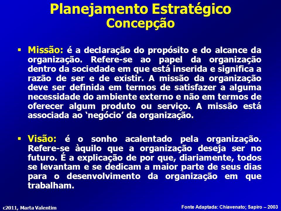 c2011, Marta Valentim Planejamento Estratégico Concepção Fonte Adaptada: Chiavenato; Sapiro – 2003  Missão: é a declaração do propósito e do alcance