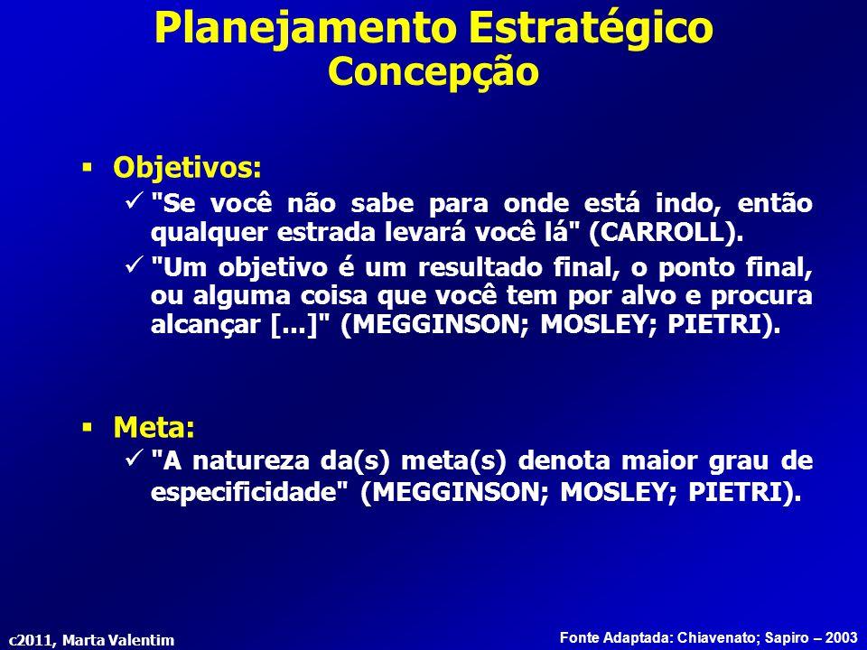 c2011, Marta Valentim Planejamento Estratégico Concepção Fonte Adaptada: Chiavenato; Sapiro – 2003  Objetivos:
