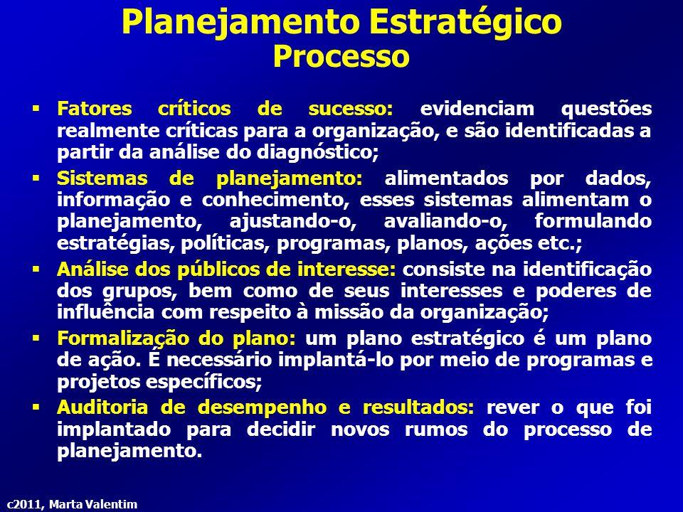 c2011, Marta Valentim Planejamento Estratégico Processo  Fatores críticos de sucesso: evidenciam questões realmente críticas para a organização, e sã