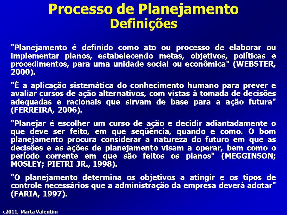 c2011, Marta Valentim Processo de Planejamento Definições