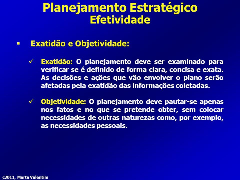 c2011, Marta Valentim Planejamento Estratégico Efetividade  Exatidão e Objetividade: Exatidão: O planejamento deve ser examinado para verificar se é