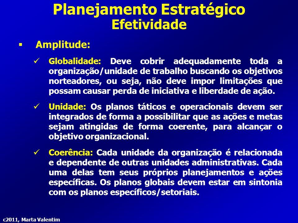 c2011, Marta Valentim Planejamento Estratégico Efetividade  Amplitude: Globalidade: Deve cobrir adequadamente toda a organização/unidade de trabalho