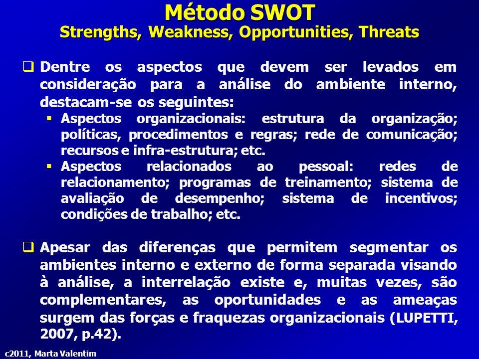 c2011, Marta Valentim Método SWOT Strengths, Weakness, Opportunities, Threats  Dentre os aspectos que devem ser levados em consideração para a anális