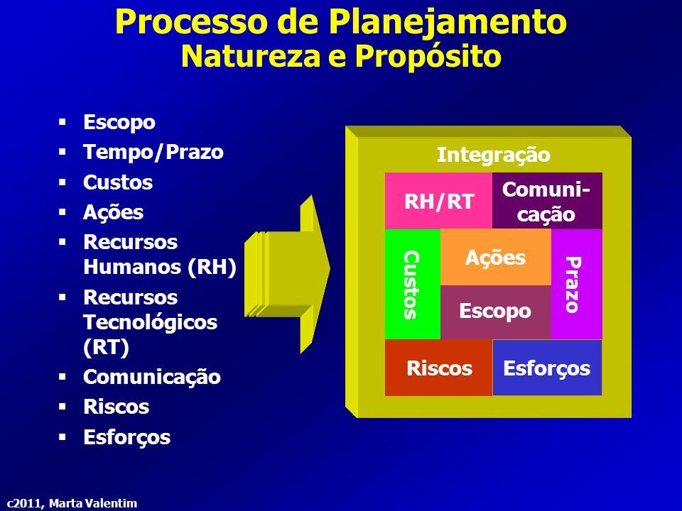 c2011, Marta Valentim Processo de Planejamento Natureza e Propósito  Escopo  Tempo/Prazo  Custos  Ações  Recursos Humanos (RH)  Recursos Tecnoló