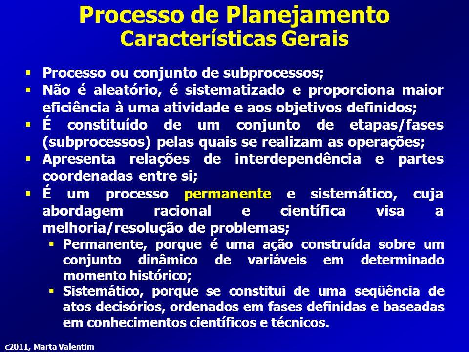 c2011, Marta Valentim Processo de Planejamento Características Gerais É um processo contínuo:  O planejamento deve ser realizado continuamente em qualquer organização/unidade de trabalho, visto que não se esgota com a simples montagem de um plano de ação.