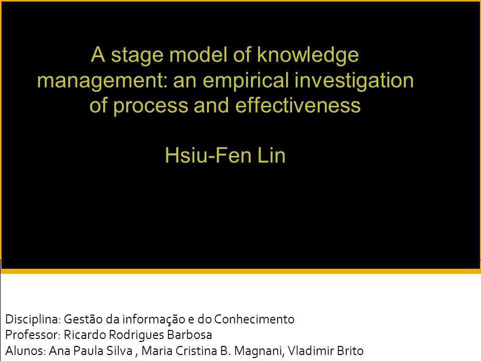 25/05/09 A pesquisa:  contribuiu com um modelo teórico de estágios do conhecimento com evidências empíricas;  explicou o desenvolvimento dos estágios dos processos do KM;  abordou as dimensões (processo do KM, efetividade do KM e suporte sócio-técnico) e a evolução do KM;  apresentou evidência empírica das dimensões citadas nos processo de desenvolvimento do M;  pode ser usada para ajudar as empresas a localizar seu estágio atual de prática de KM.