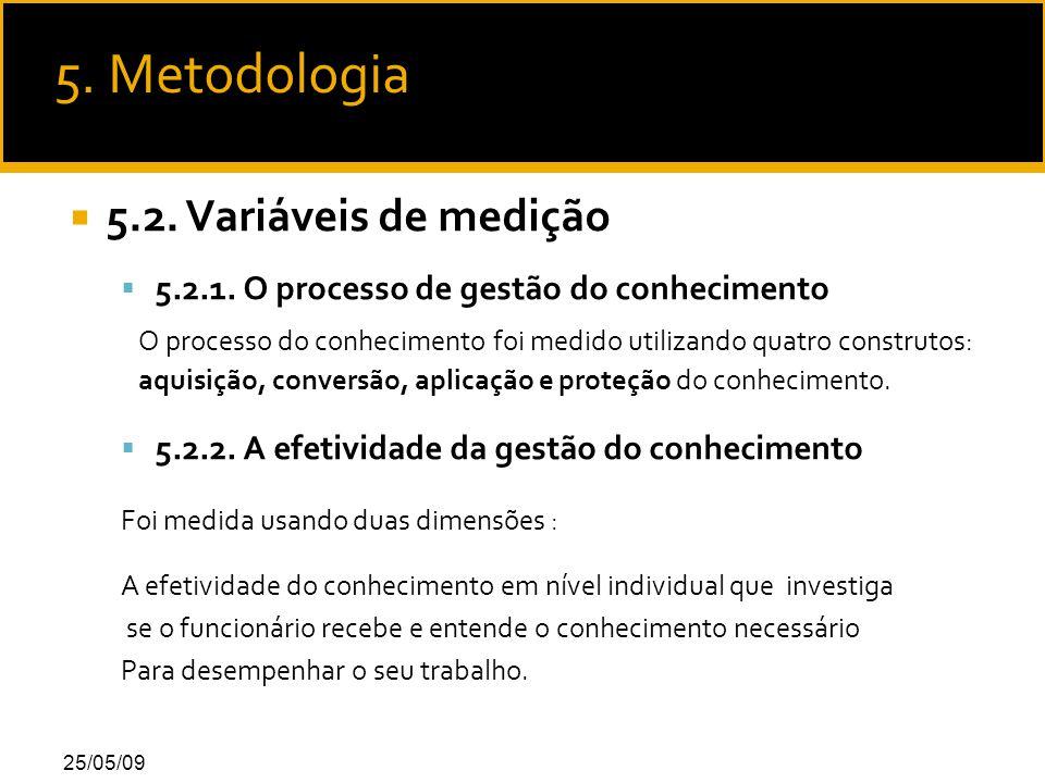 25/05/09  5.2. Variáveis de medição  5.2.1.