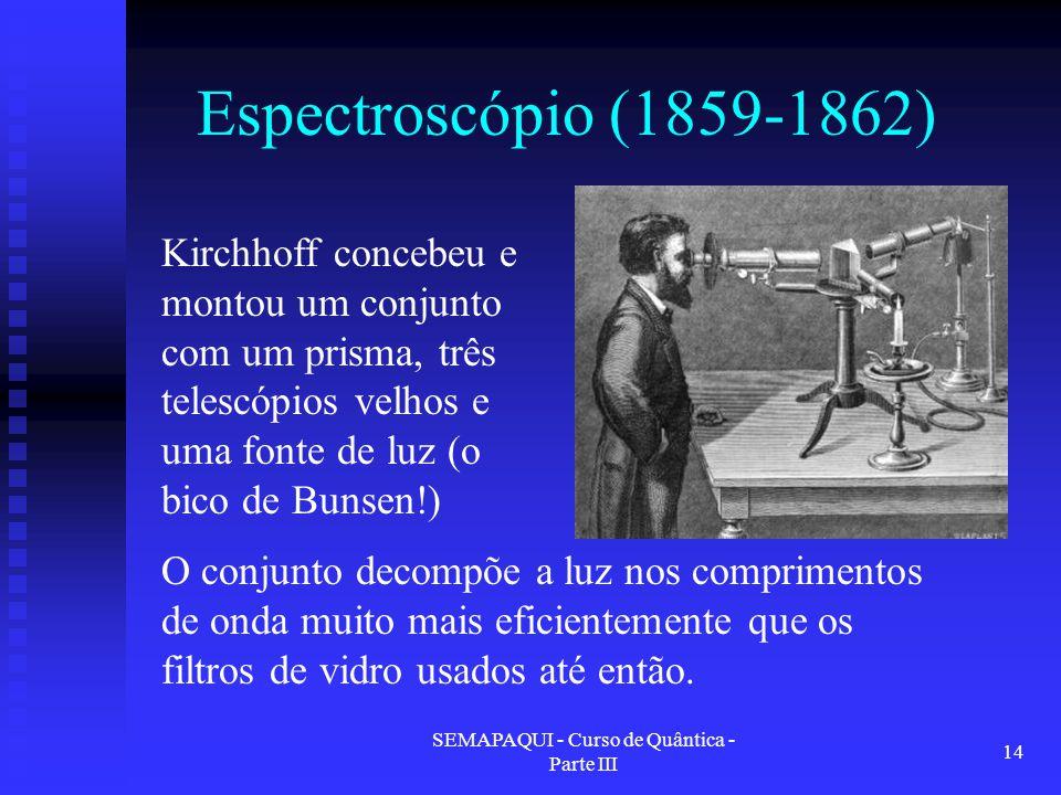 SEMAPAQUI - Curso de Quântica - Parte III 14 Espectroscópio (1859-1862) Kirchhoff concebeu e montou um conjunto com um prisma, três telescópios velhos e uma fonte de luz (o bico de Bunsen!) O conjunto decompõe a luz nos comprimentos de onda muito mais eficientemente que os filtros de vidro usados até então.