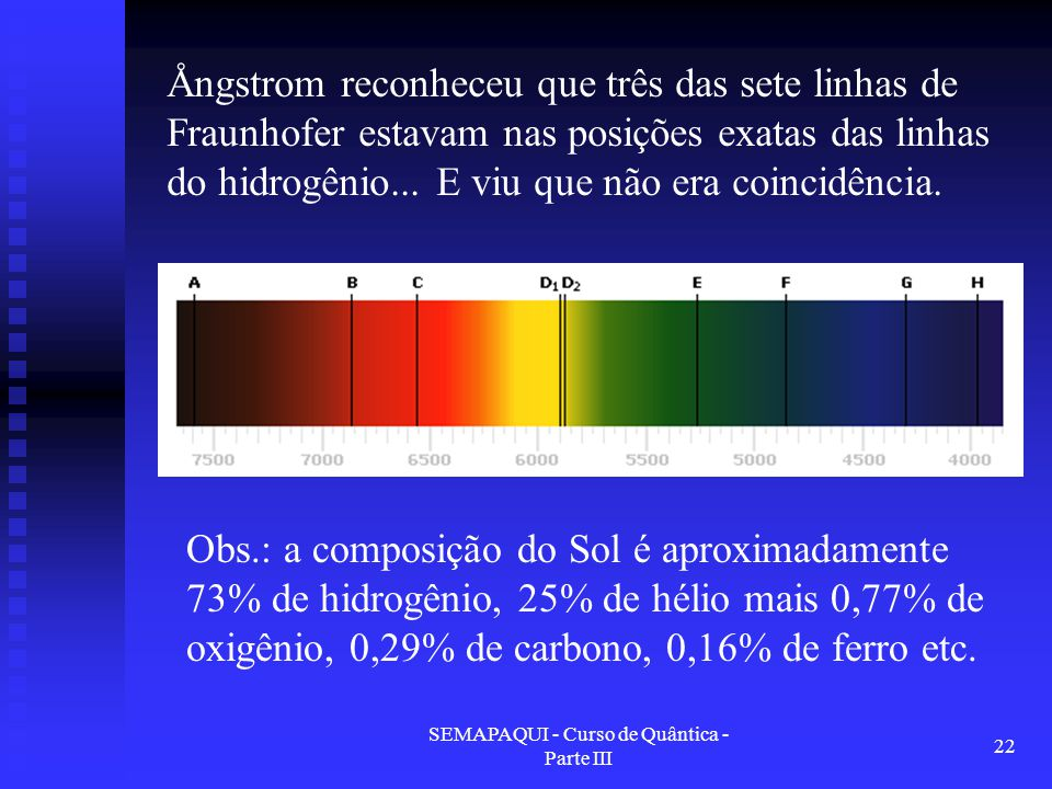 SEMAPAQUI - Curso de Quântica - Parte III 22 Obs.: a composição do Sol é aproximadamente 73% de hidrogênio, 25% de hélio mais 0,77% de oxigênio, 0,29% de carbono, 0,16% de ferro etc.