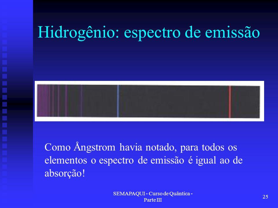 SEMAPAQUI - Curso de Quântica - Parte III 25 Hidrogênio: espectro de emissão Como Ångstrom havia notado, para todos os elementos o espectro de emissão é igual ao de absorção!