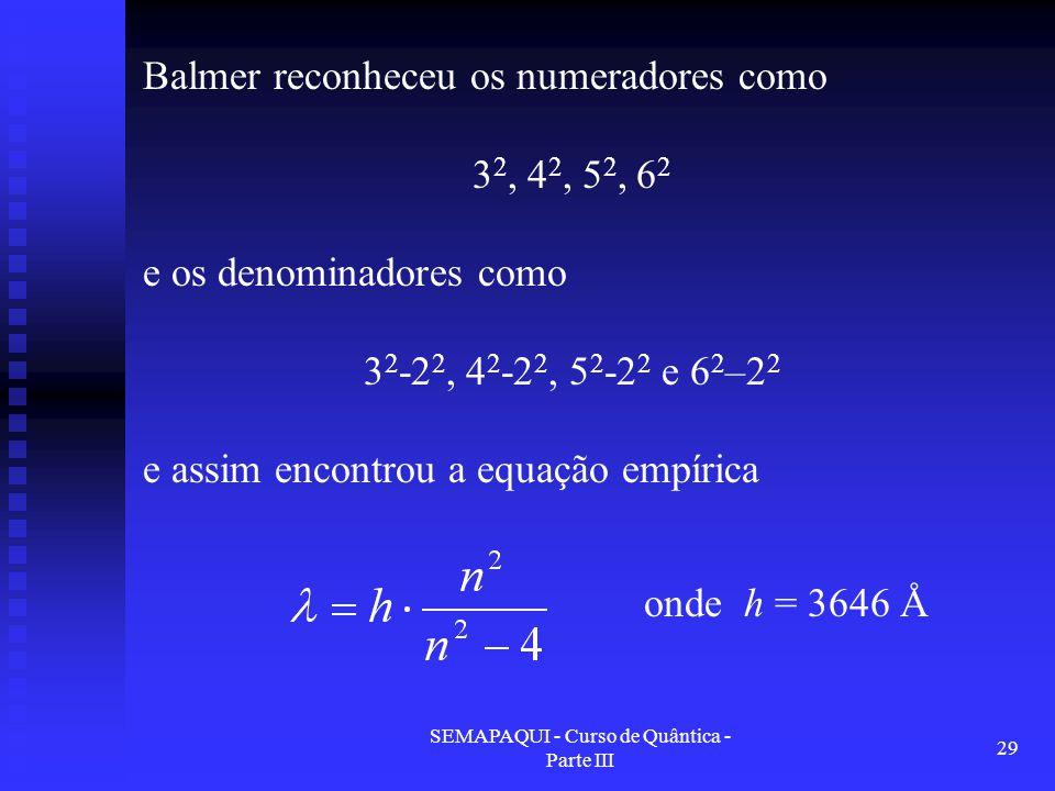 SEMAPAQUI - Curso de Quântica - Parte III 29 Balmer reconheceu os numeradores como 3 2, 4 2, 5 2, 6 2 e os denominadores como 3 2 -2 2, 4 2 -2 2, 5 2 -2 2 e 6 2 –2 2 e assim encontrou a equação empírica onde h = 3646 Å