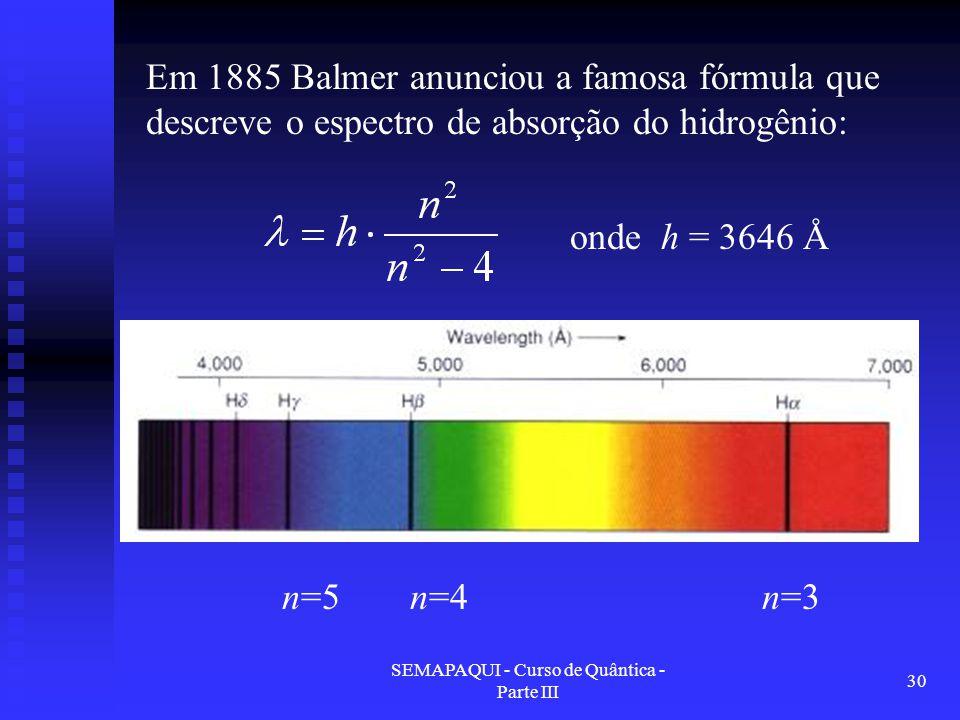 SEMAPAQUI - Curso de Quântica - Parte III 30 Em 1885 Balmer anunciou a famosa fórmula que descreve o espectro de absorção do hidrogênio: onde h = 3646 Å n=3n=4n=5