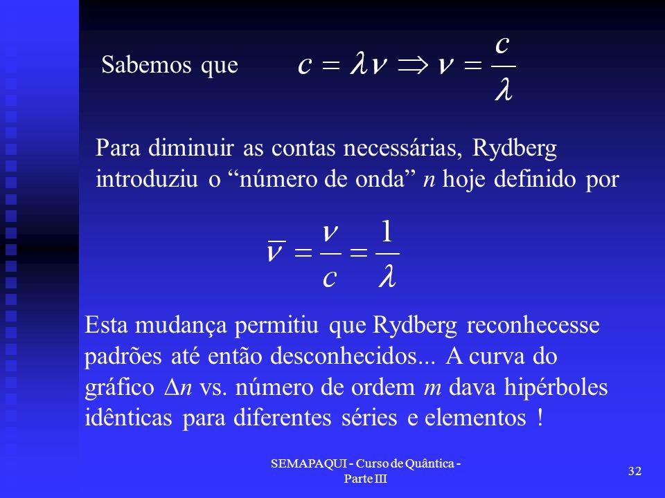 """SEMAPAQUI - Curso de Quântica - Parte III 32 Para diminuir as contas necessárias, Rydberg introduziu o """"número de onda"""" n hoje definido por Sabemos qu"""