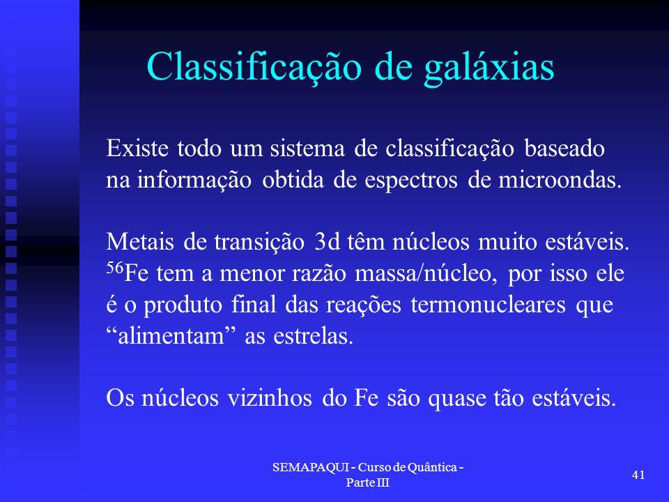 SEMAPAQUI - Curso de Quântica - Parte III 41 Classificação de galáxias Existe todo um sistema de classificação baseado na informação obtida de espectros de microondas.