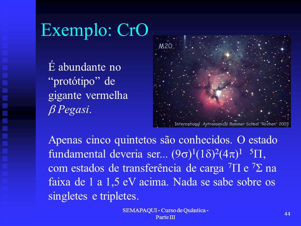 """SEMAPAQUI - Curso de Quântica - Parte III 44 Exemplo: CrO É abundante no """"protótipo"""" de gigante vermelha  Pegasi. Apenas cinco quintetos são conhecid"""