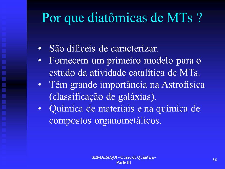 SEMAPAQUI - Curso de Quântica - Parte III 50 Por que diatômicas de MTs ? São difíceis de caracterizar. Fornecem um primeiro modelo para o estudo da at
