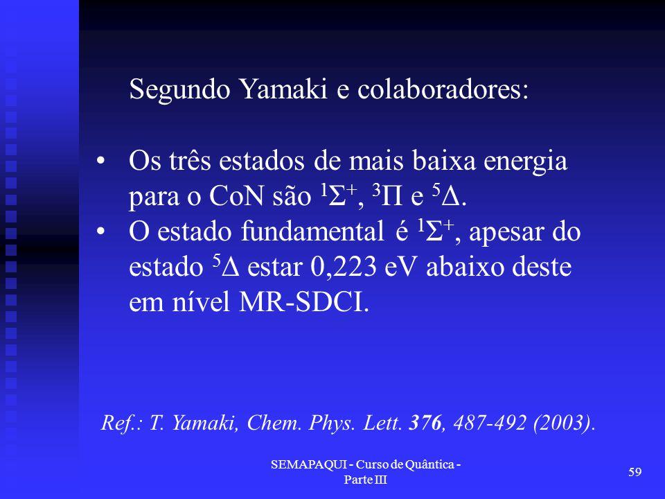 SEMAPAQUI - Curso de Quântica - Parte III 59 Ref.: T. Yamaki, Chem. Phys. Lett. 376, 487-492 (2003). Segundo Yamaki e colaboradores: Os três estados d